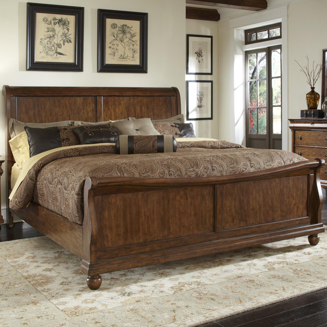 Rustic Traditions King Sleigh Bed Set by Libby at Walker's Furniture