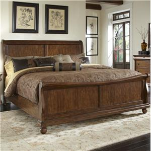 Queen Sleigh Bed Set with Bun Feet