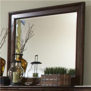 Beveled Landscape Mirror with Wood Frame