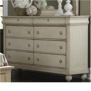 Eight-Drawer Dresser with Antique Brass Hardware