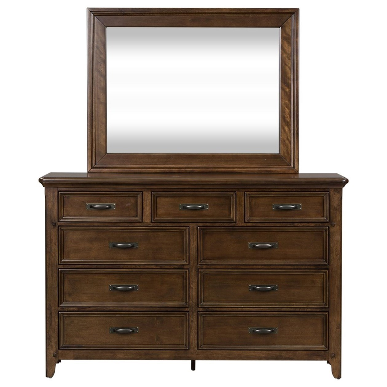 Saddlebrook Dresser + Mirror Set by Libby at Walker's Furniture