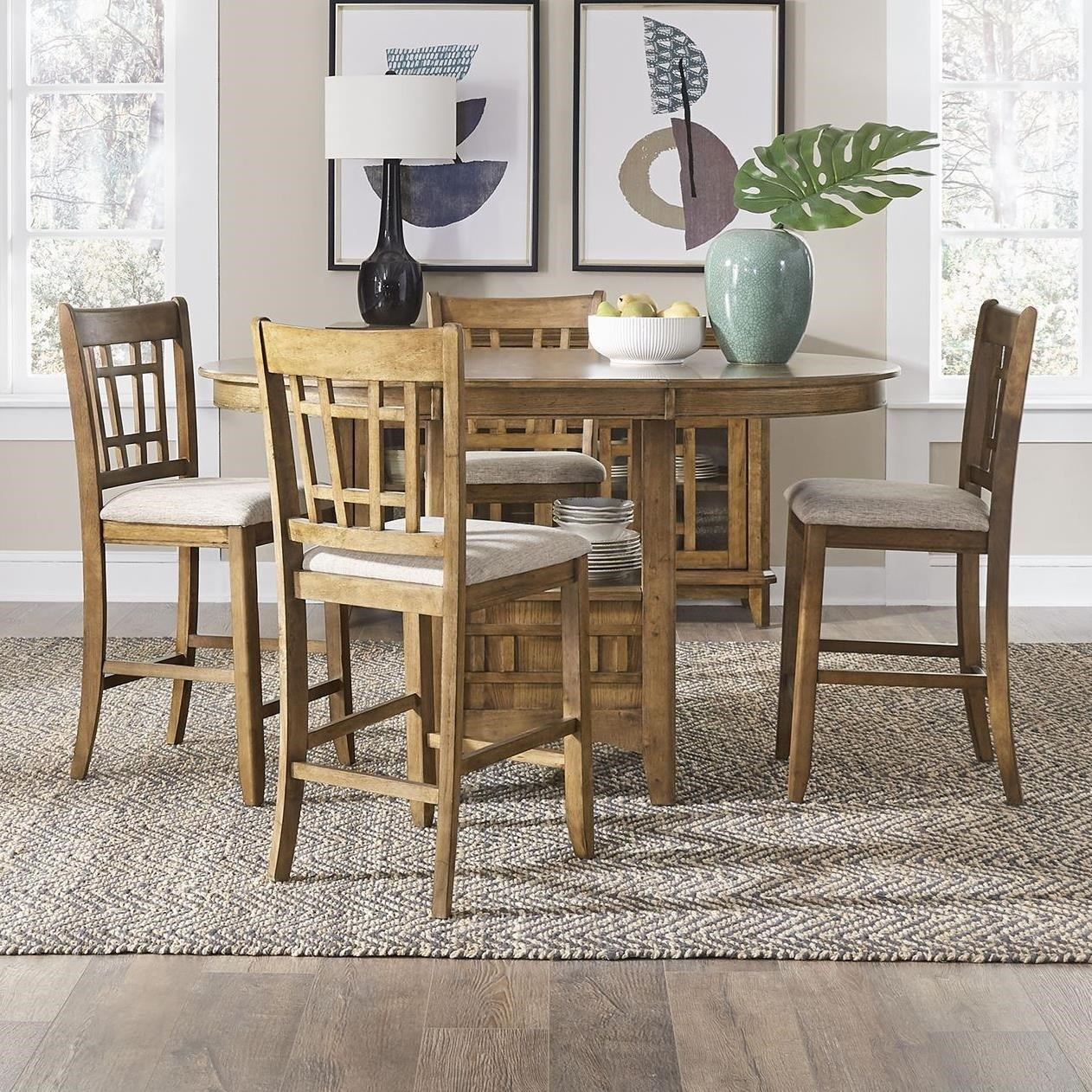 Santa Rosa II 5-Piece Counter Height Table Set by Libby at Walker's Furniture