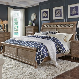 King Sleigh Bed with Mirror Accent Headboard