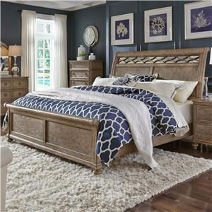 Queen Sleigh Bed with Mirror Accent Headboard