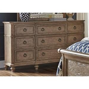 Cottage Breakfront Nine Drawer Dresser with Felt-Lined Top Drawers
