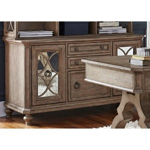 Cottage Credenza with Antiqued Mirrored Doors
