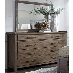 Contemporary 8 Drawer Dresser with Cedar Lined Bottom Drawers & Mirror