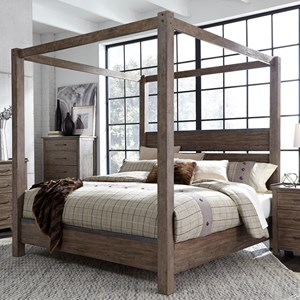 Contemporary King Canopy Bed with Metal Strip Accents