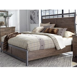 Contemporary King Panel Bed with Metal Strip Accents