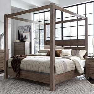 Contemporary Queen Canopy Bed with Metal Strip Accents