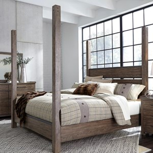 Contemporary Queen Poster Bed with Metal Strip Accents