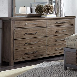 Contemporary 8 Drawer Dresser with Cedar Lined Bottom Drawers