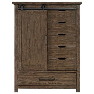 Contemporary Door Chest With Cedar Lined Bottom Drawers
