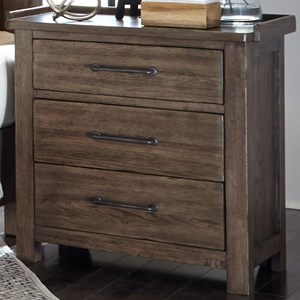 Contemporary 3 Drawer Night Stand with Charging Station