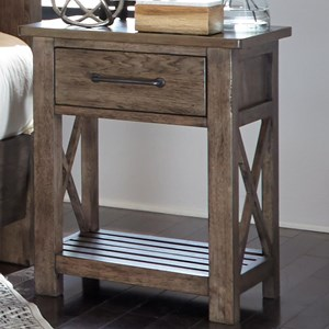Contemporary 1 Drawer Night Stand with Slat Shelf