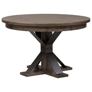 Contempoary Oval Pedestal Table with Metal Strip Accents