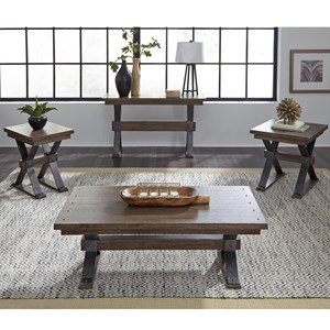 Contemporary Occasional Table Group with Nail Head Trim