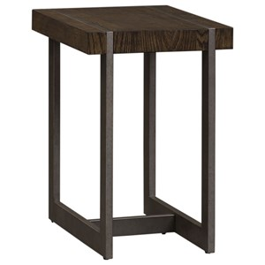 Contemporary Chair Side Table with Metal Base