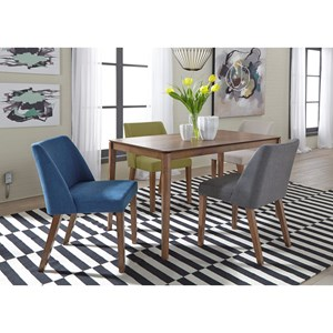 Mid-Century Modern 5 Piece Rectangular Table Set with Fully Upholstered Chairs