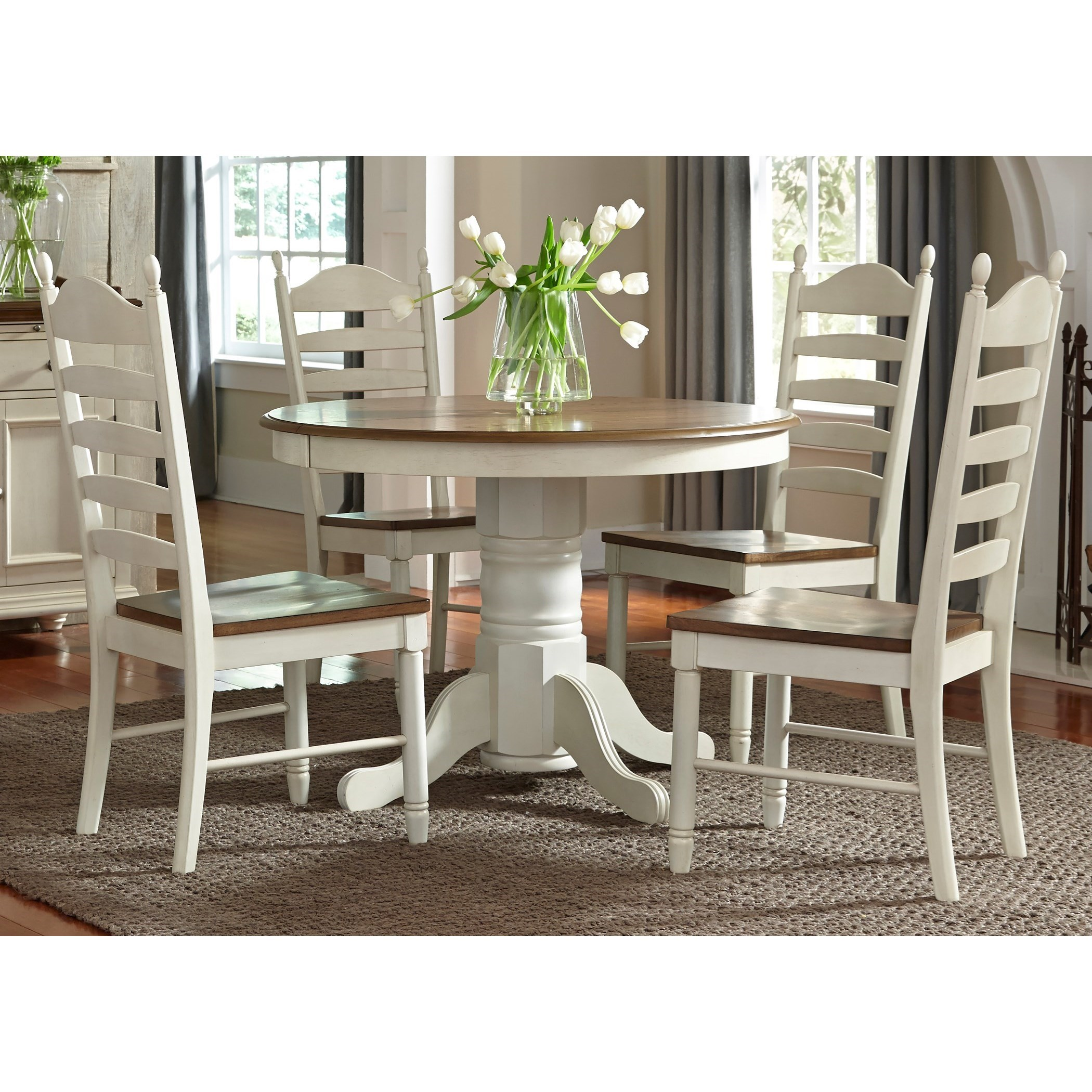 Springfield Dining 5 Piece Pedestal Table & Chair Set by Libby at Walker's Furniture