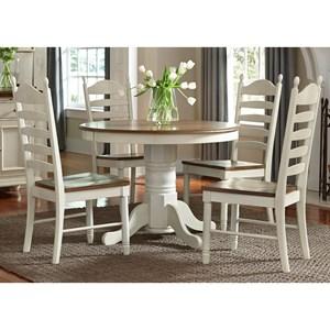 Liberty Furniture Springfield Dining 5 Piece Pedestal Table & Chair Set