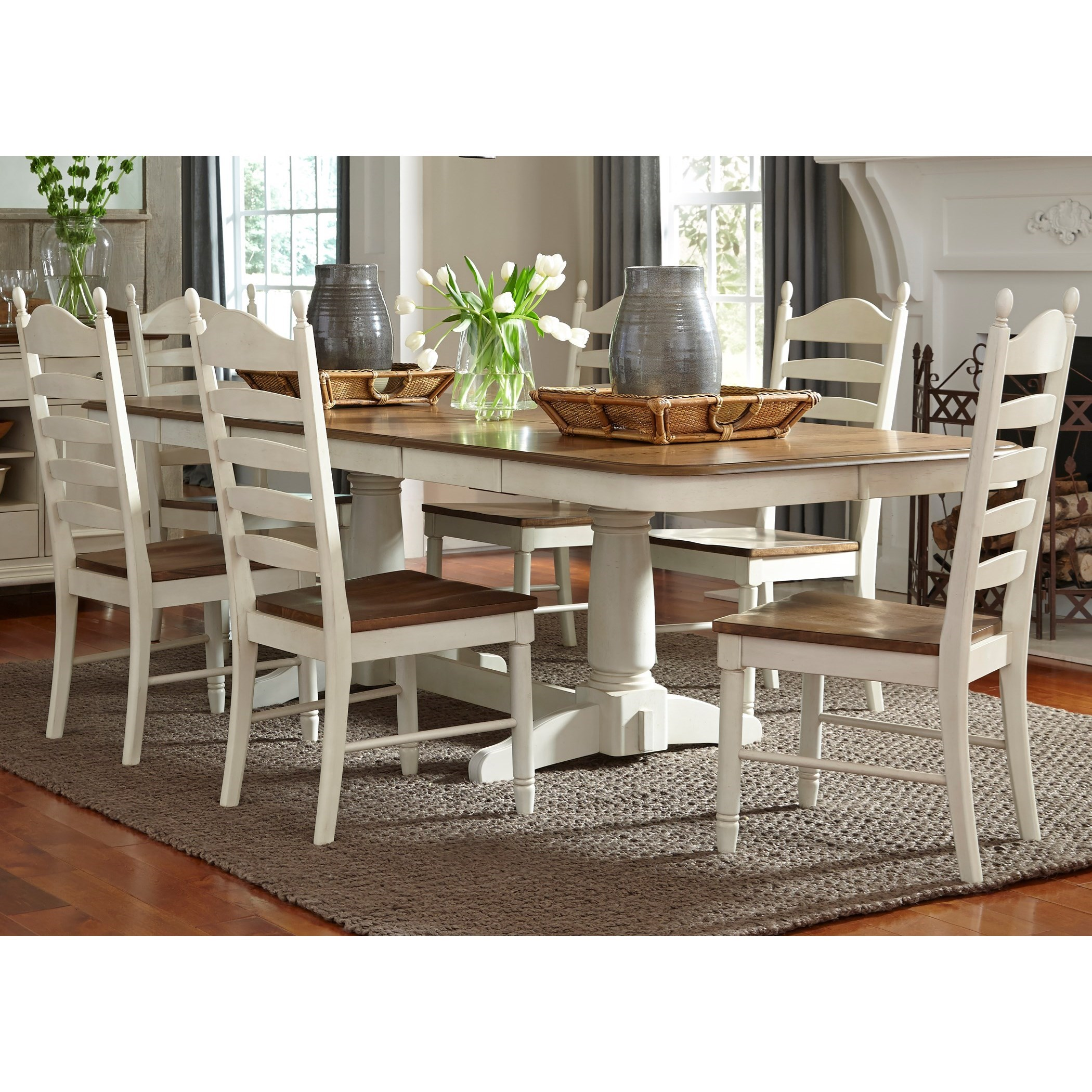 Springfield Dining 7 Piece Double Pedestal Table & Chair Set by Liberty Furniture at Northeast Factory Direct