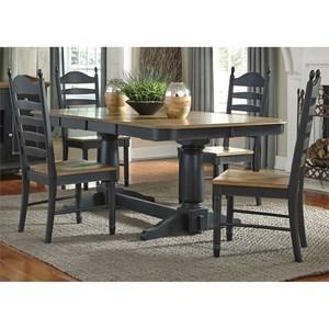 5 Piece Double Pedestal Table & Chair Set