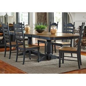 7 Piece Double Pedestal Table & Chair Set