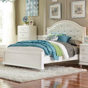 Glam Full Panel Bed with Upholstered Headboard