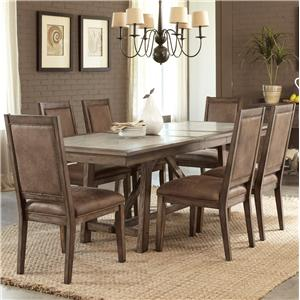 Casual 7 Piece Trestle Table Set