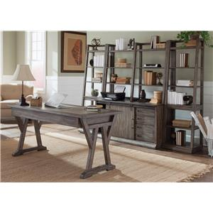 5-Piece Desk with Distressed Wood Finish