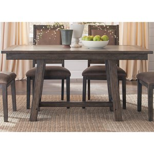 Liberty Furniture Stone Brook Trestle Table with Concrete Insert