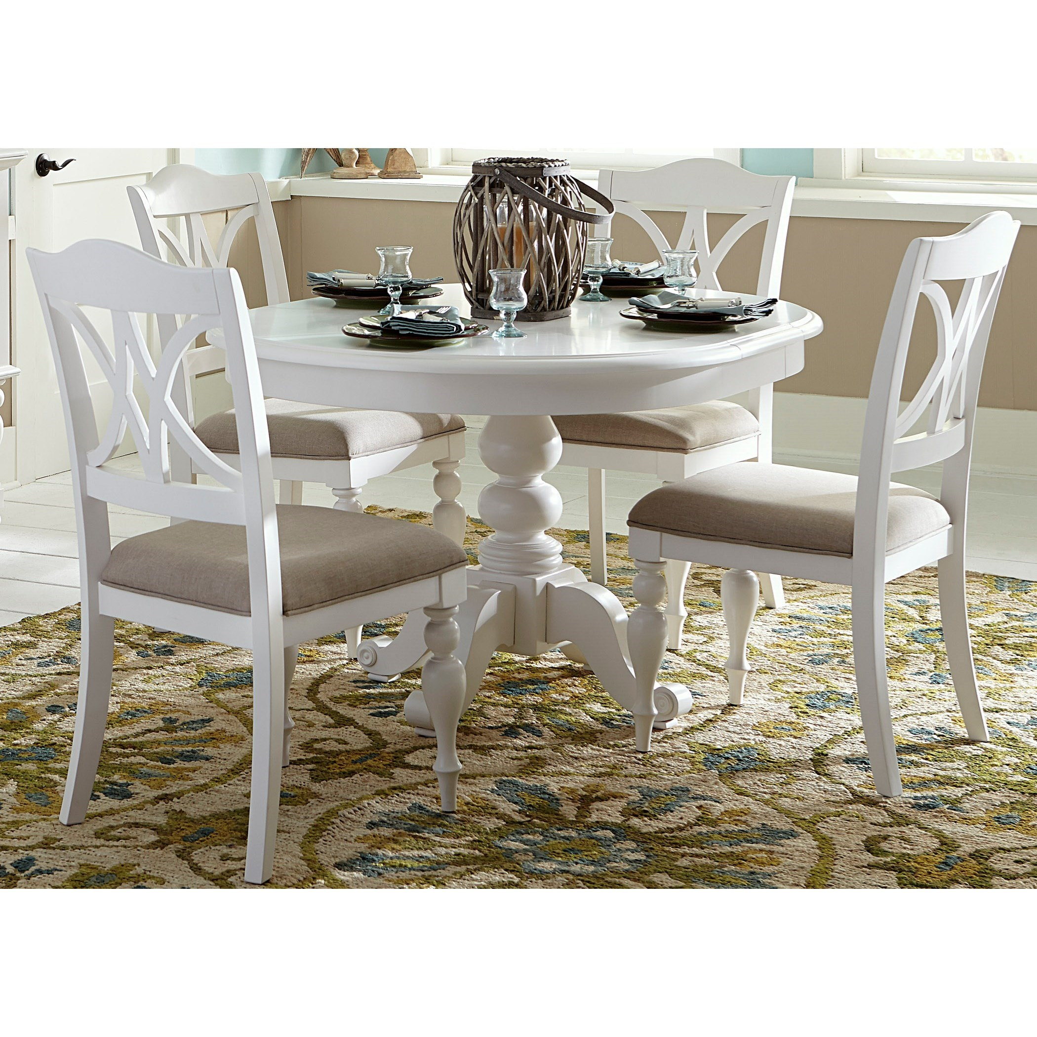 Summer House I 5 Piece Pedestal Table Set  by Libby at Walker's Furniture