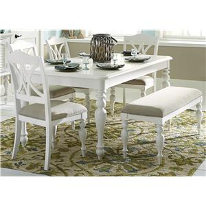 6 Piece Rectangular Table Set with Turned Legs