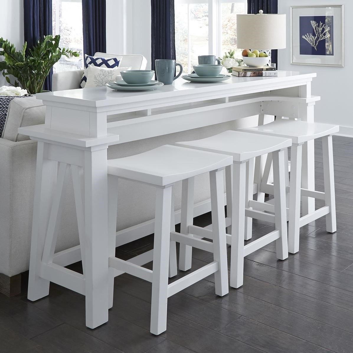 Summer House I 4-Piece Counter Height Console Bar Table Set by Libby at Walker's Furniture