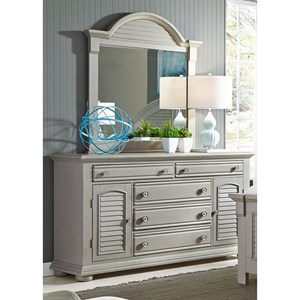 5 Drawer Dresser & Mirror with Wood Frame