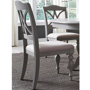 Transitional Upholstered Splat Back Side Chair