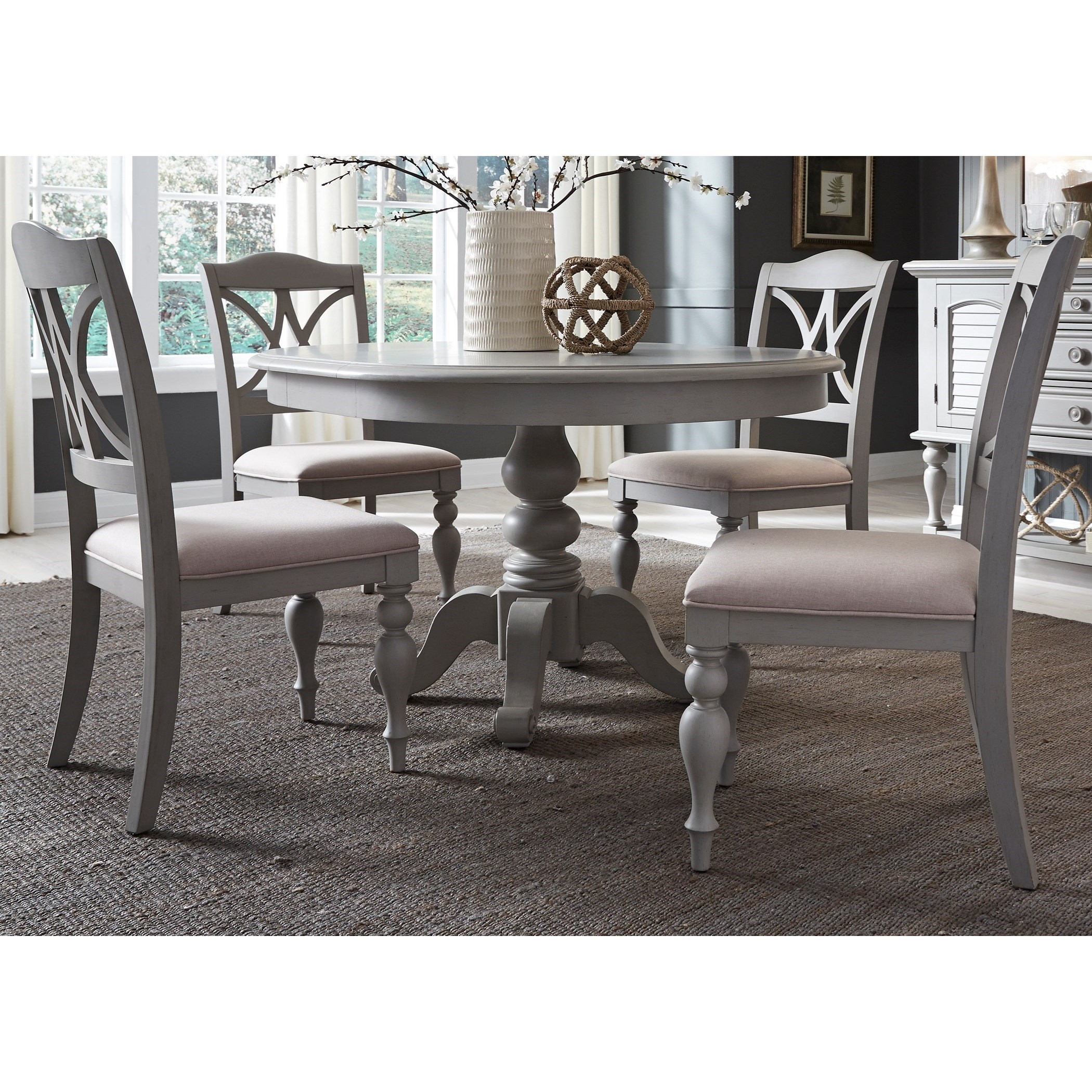 Summer House Dining 5 Piece Pedestal Table Set  by Libby at Walker's Furniture