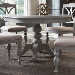 """Transitional Round Pedestal Table with 12"""" Table Leaf"""