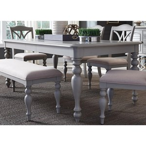 "Transitional Rectangular Leg Table with 12"" Leaf"