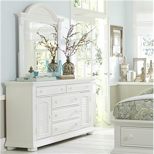 Cottage Dresser with Doors and Mirror