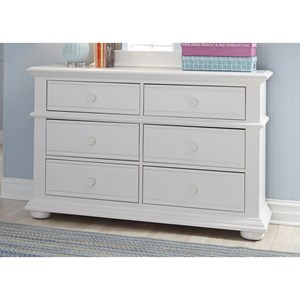 Cottage 6 Drawer Dresser with Felt-Lined Top Drawers