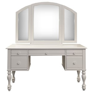 Cottage Style Vanity and Mirror Set with Turned Legs
