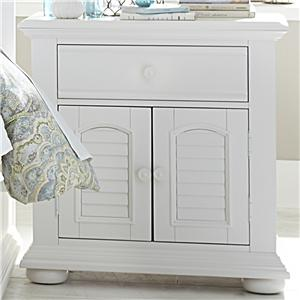 Louvered 2 Door 1 Drawer Night Stand