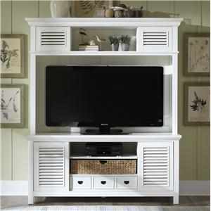 Entertainment Center with Drawer, Sliding Doors, and Adjustable Center Shelf