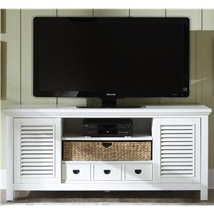 Entertainment TV Stand with Drawer, Sliding Doors, and Adjustable Center Shelf