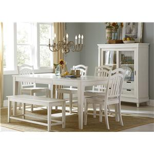 Six-Piece Rectangular Table, Bench, and Chair Dining Set