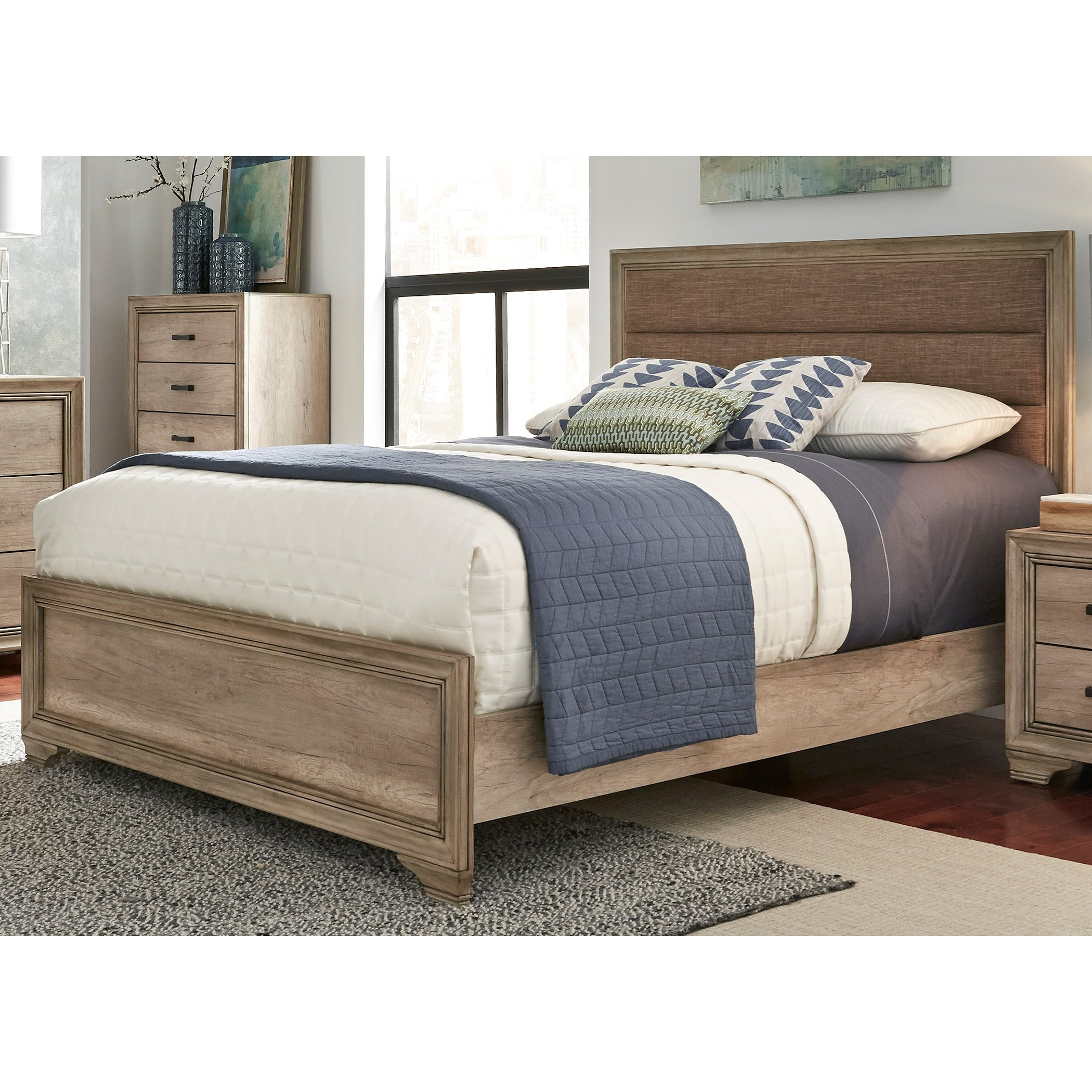 Sun Valley Queen Upholstered Panel Bed by Libby at Walker's Furniture
