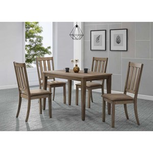 5 Piece Cafe Table Set w/ Slat Back Chairs