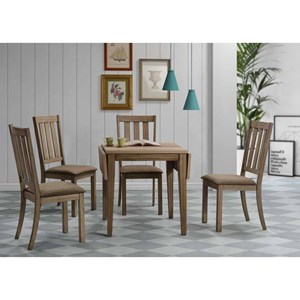 5 Piece Drop Leaf Set w/ Slat Back Chairs